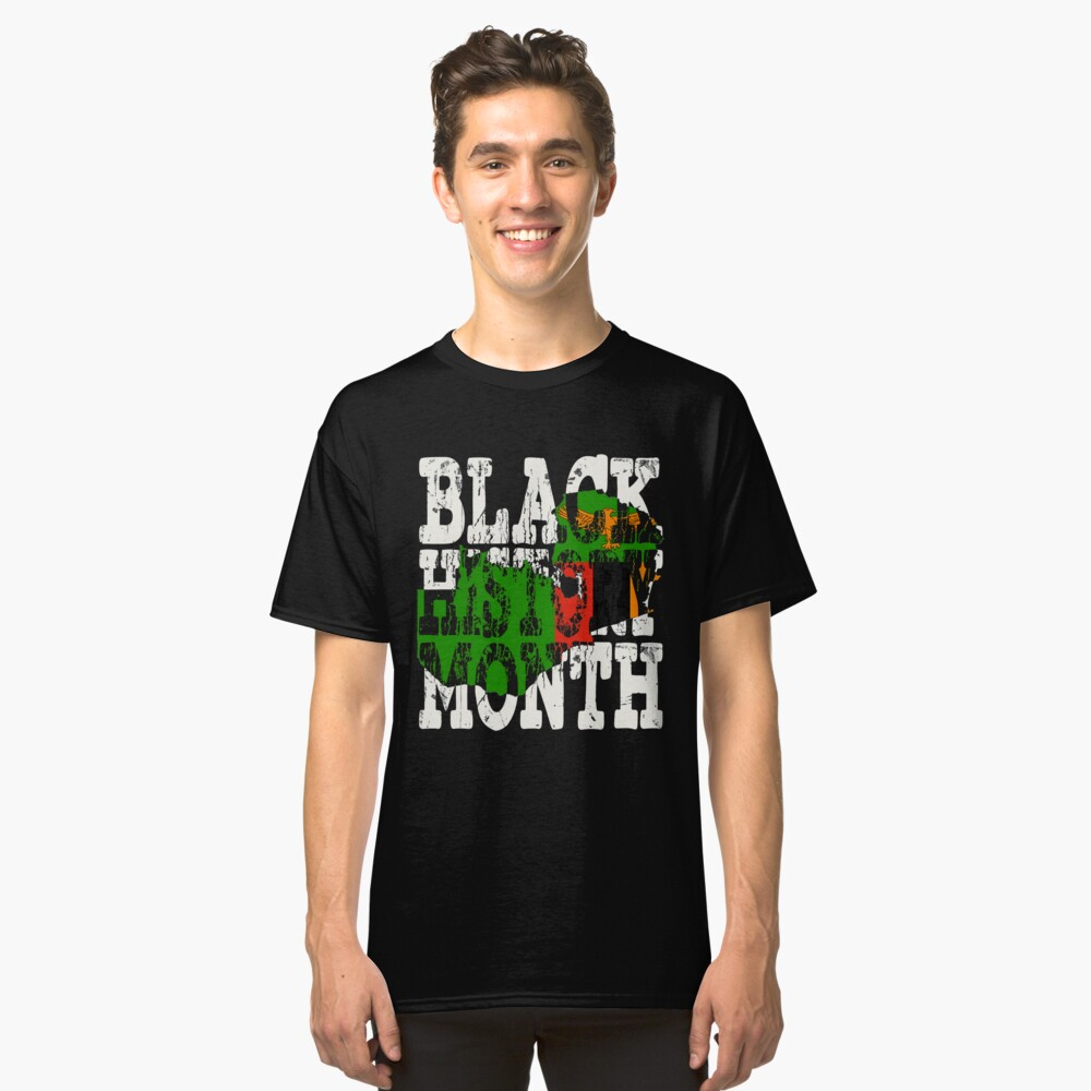 Black History Month Melanin Poppin' Zambian Flag Shape African Black Pride Zambia Lusaka Flag Classic T-Shirt Front
