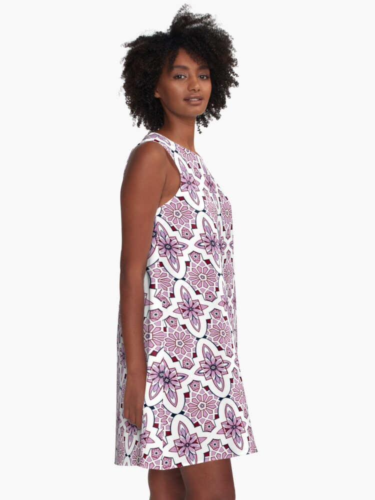 Alternate view of Lilac Moroccan floral with burgundy and navy A-Line Dress