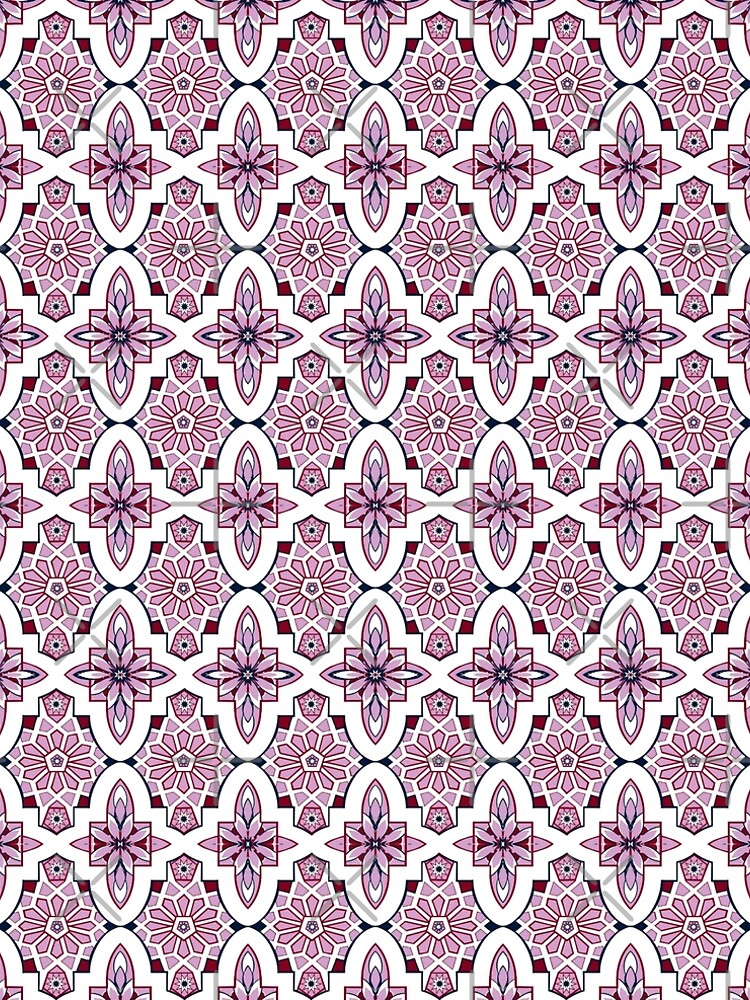 Lilac Moroccan floral with burgundy and navy by MagentaRose