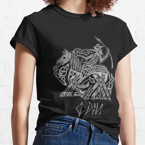 Odin Entering Valhalla on Sleipnir (Gray) Classic T-Shirt
