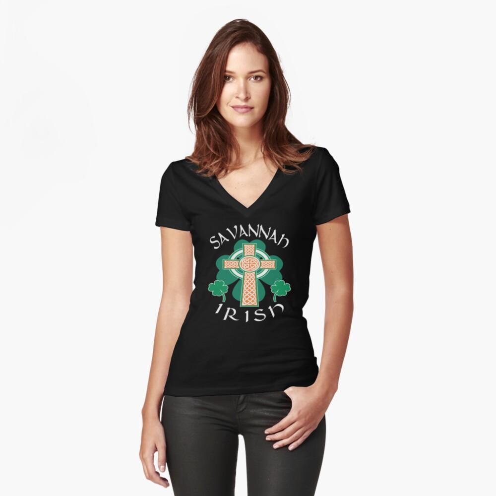Savannah American Irish Pride Celtic Cross Saint Patrick Women's Fitted V-Neck T-Shirt Front