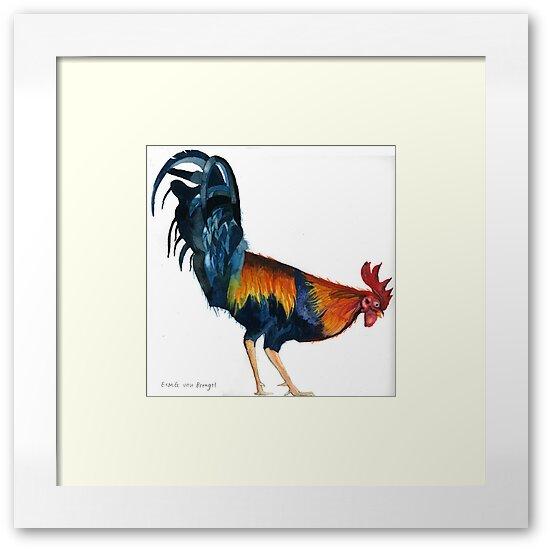 Original watercolour painting of a Cockerel by Esmee van Breugel
