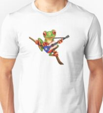 Tree Frog Playing Puerto Rican Flag Guitar Unisex T-Shirt