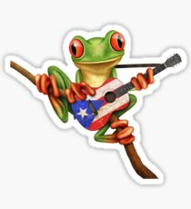 Pegatina Tree Frog Playing Puerto Rican Flag Guitar
