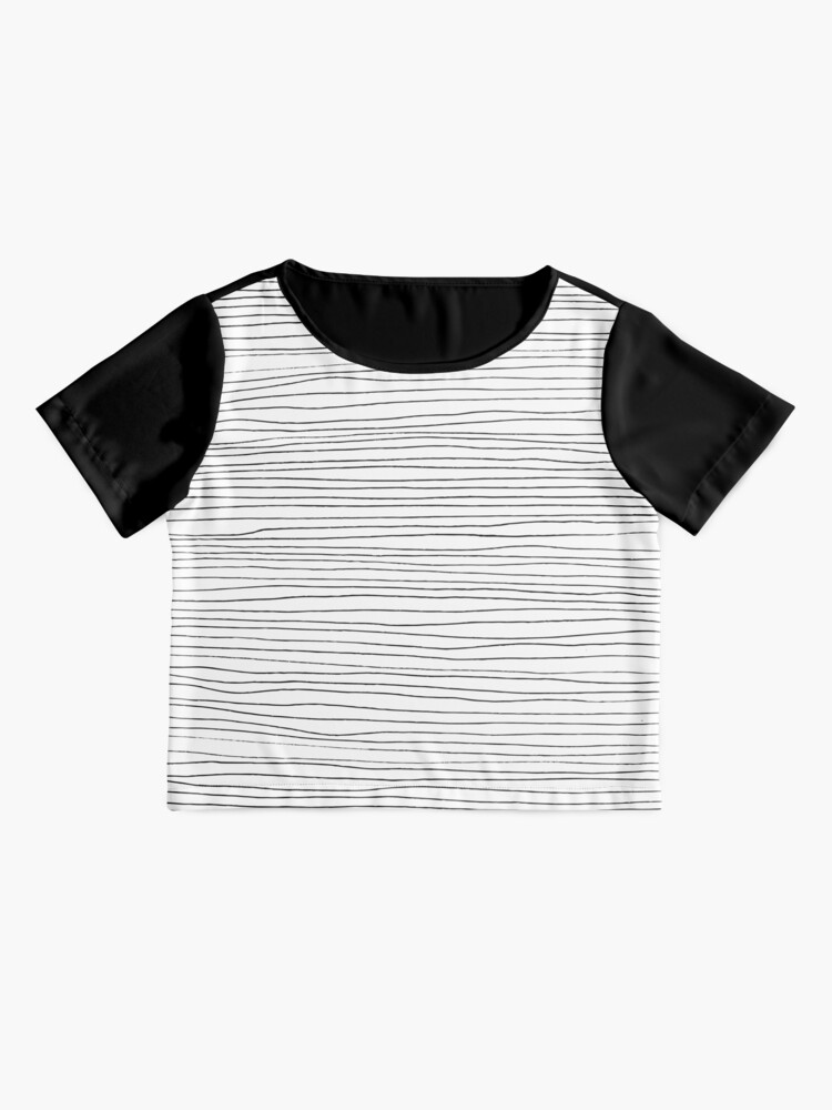Alternate view of Geometric pattern black and white lines Chiffon Top