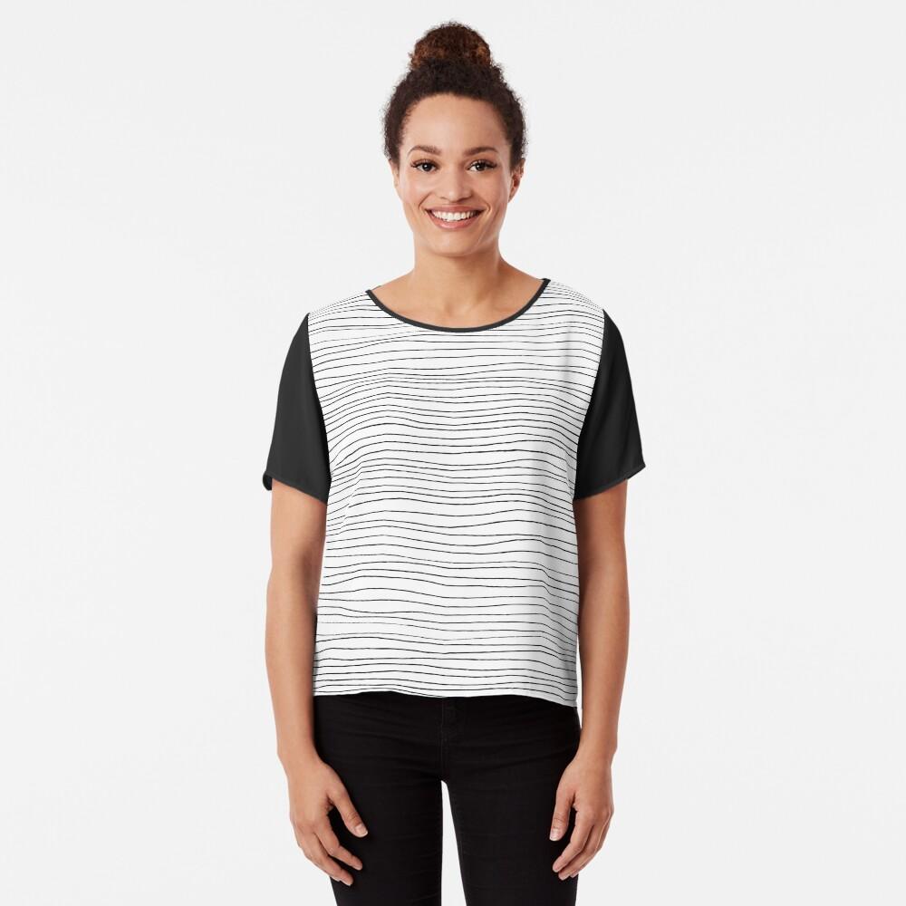 Geometric pattern black and white lines Chiffon Top