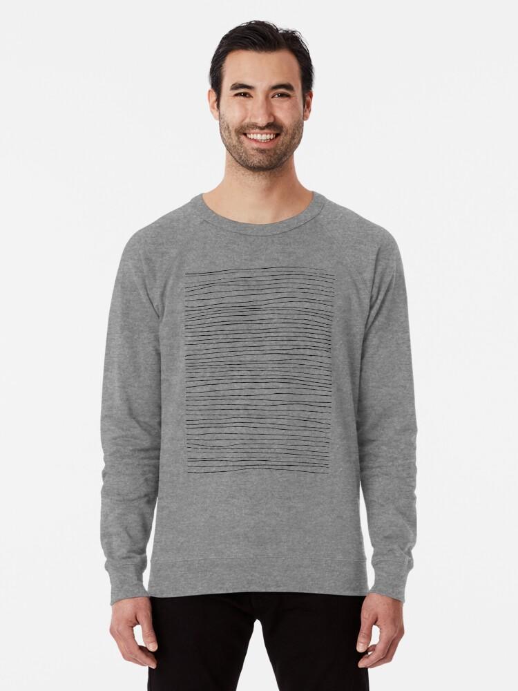 Alternate view of Geometric pattern black and white lines Lightweight Sweatshirt