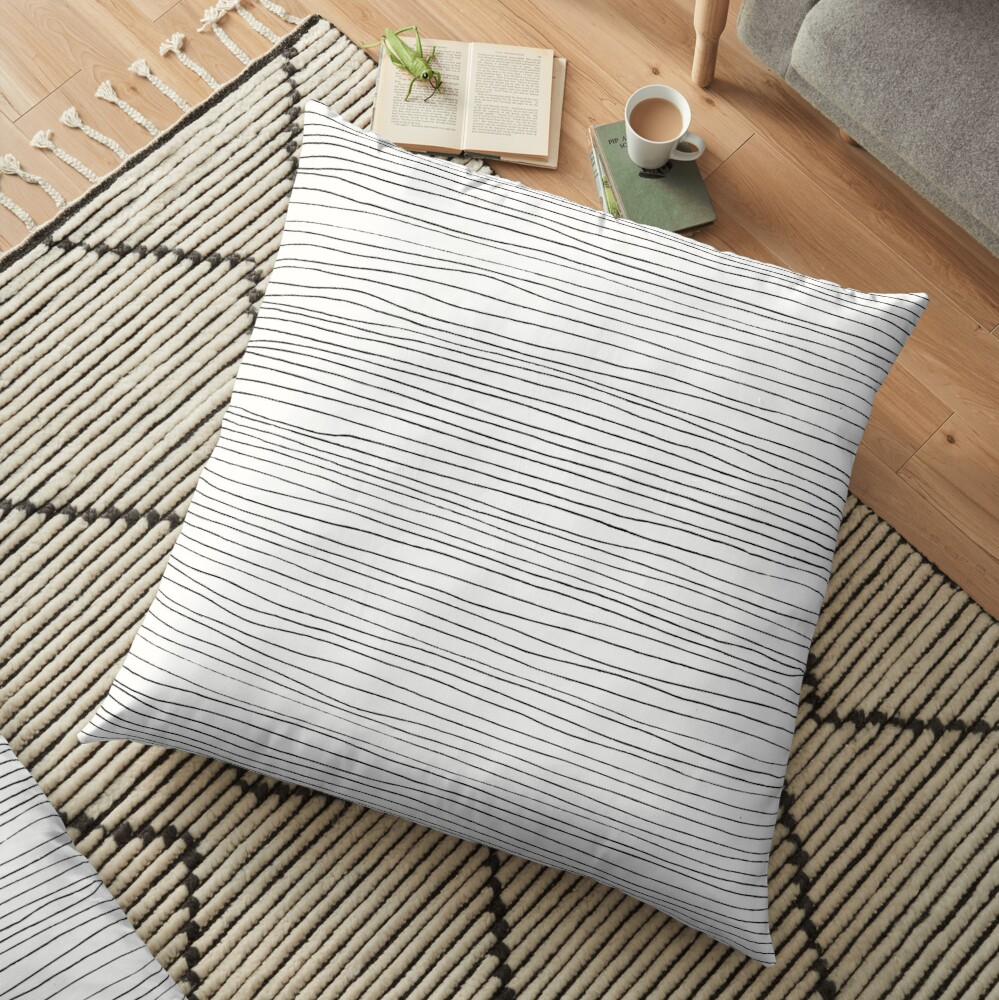 Geometric pattern black and white lines Floor Pillow