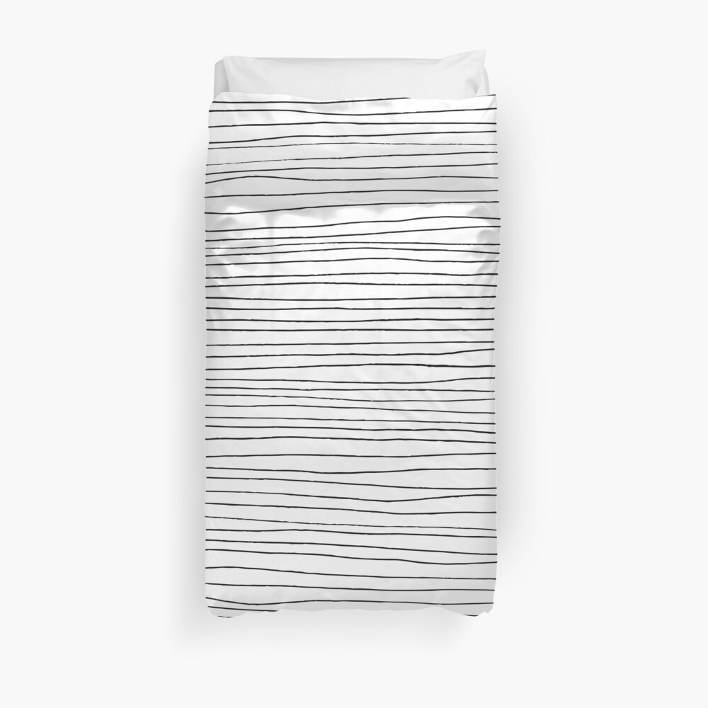 Geometric pattern black and white lines Duvet Cover