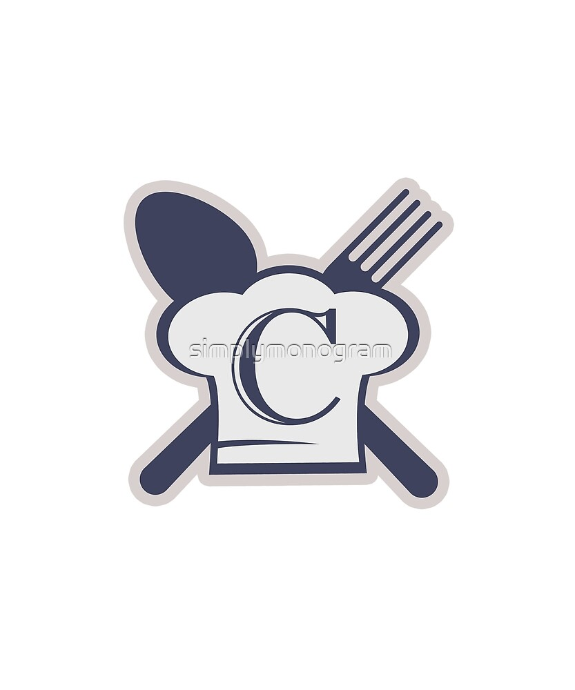 Monogram C Chef Hat Fork and Spoon by simplymonogram