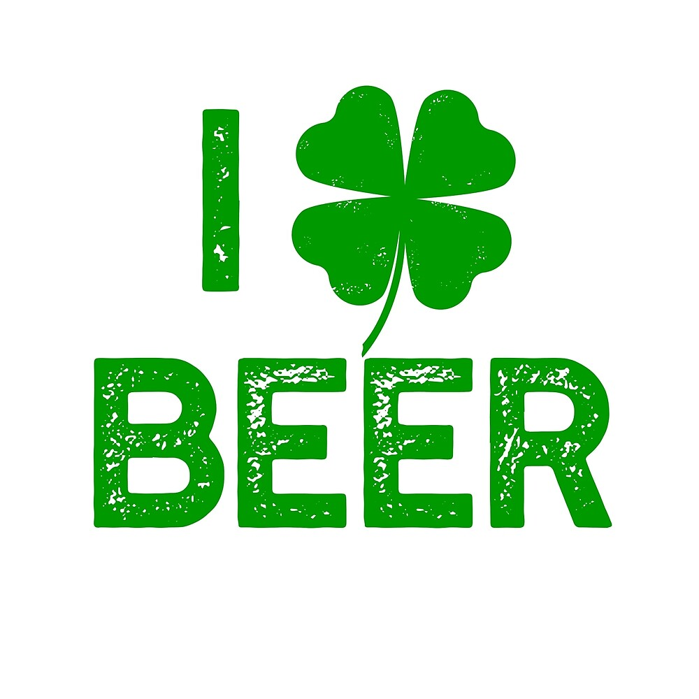 i love beer st patrick's day heart shamrock clover by starkle