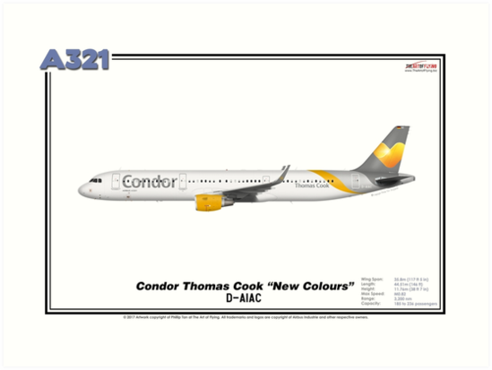 "Airbus A321 - Condor Thomas Cook ""New Colours"" (Art Print) by TheArtofFlying"