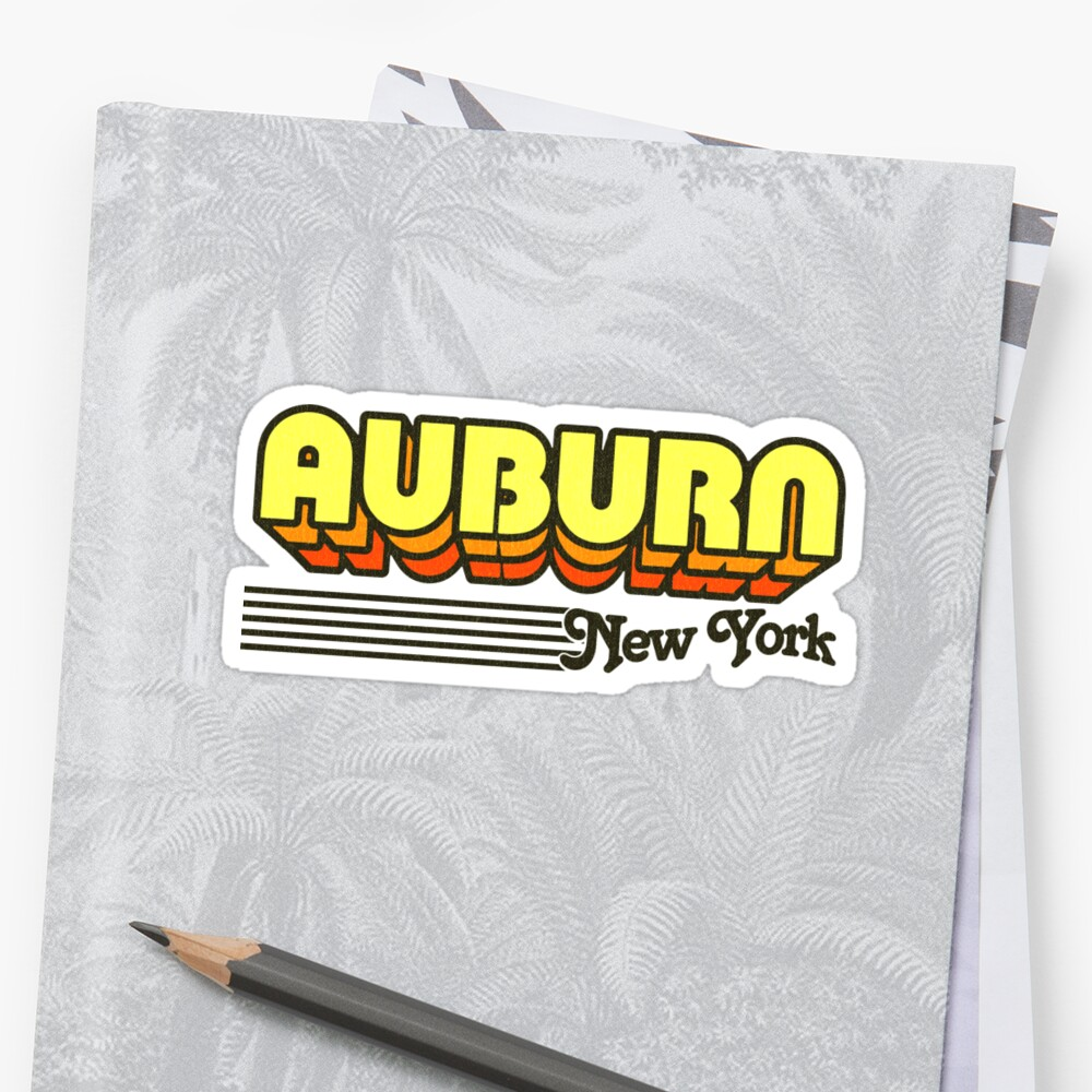 Auburn, New York | Retro Stripes Sticker Front