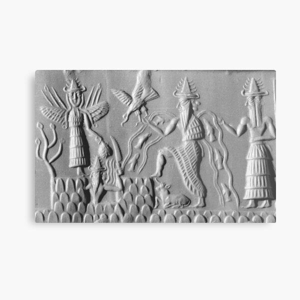 UFOs in Ancient Art. ANUNNAKI. Three members of the Anunnaki. Sumerian, Gods of the Sky. Metal Print