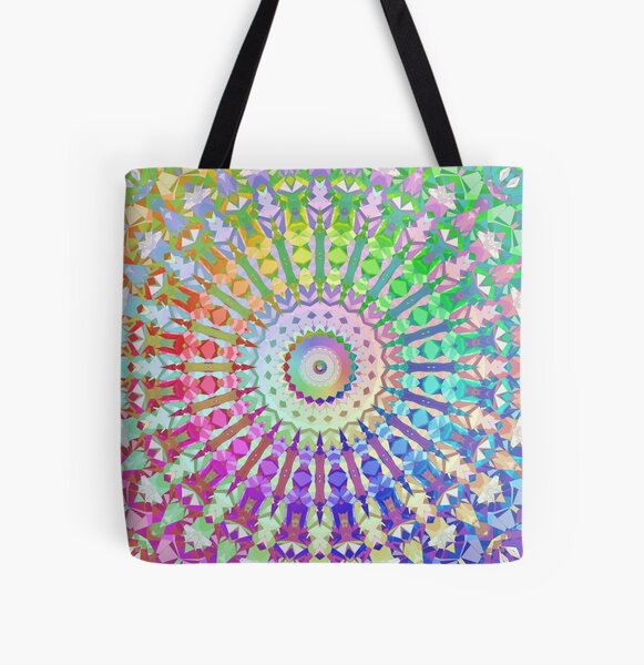 Rainbow Kaleidoscope All Over Print Tote Bag