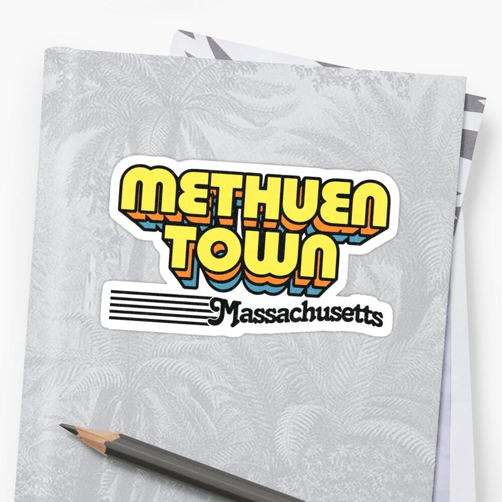 Methuen Town, Massachusetts   Retro Stripes Sticker Front