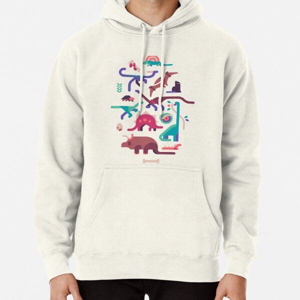 Dinos and a cat Pullover Hoodie