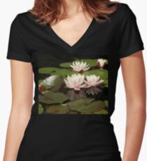 Water lilies - Nymphaea Women's Fitted V-Neck T-Shirt