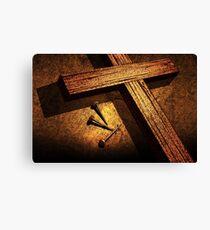 Jesus God Christianity Religion Crucifiction Nails Cross Canvas Print