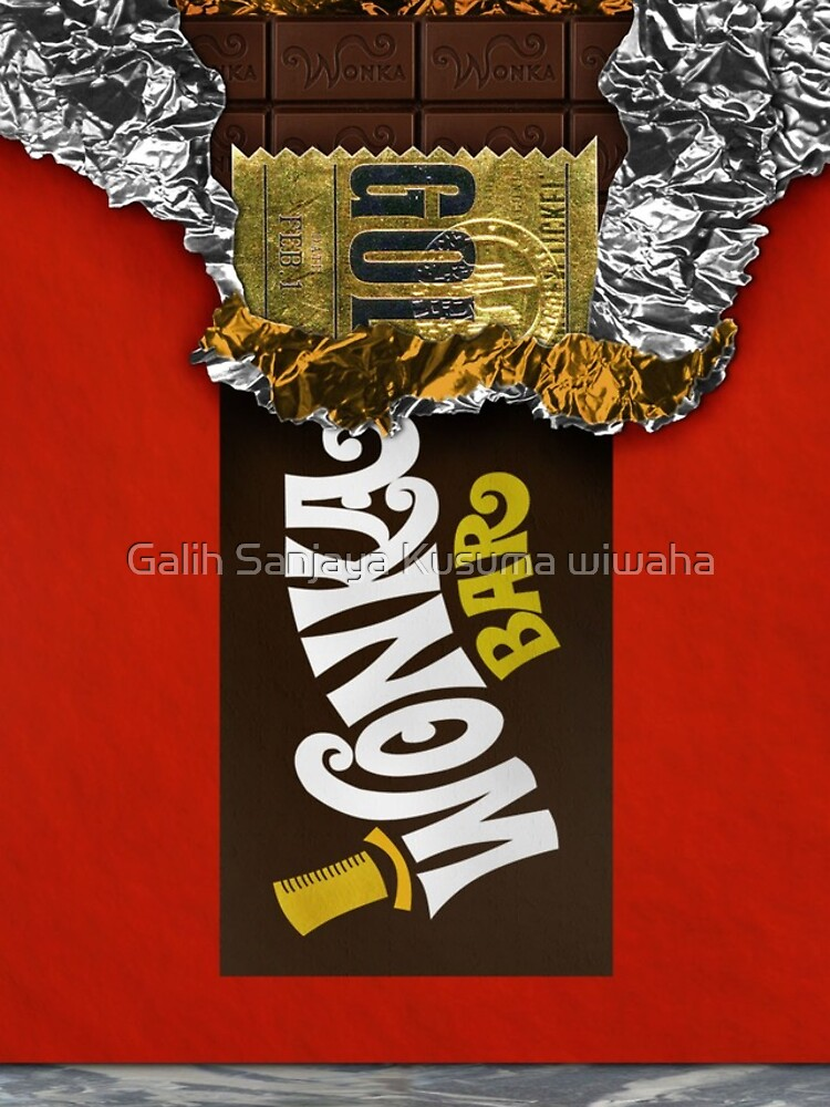 Wonka Chocolate Bar with Golden ticket by GalihArt