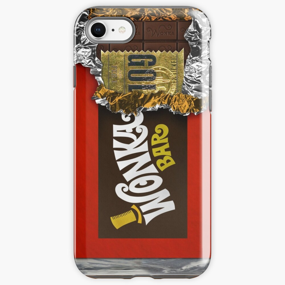Wonka Chocolate Bar with Golden ticket iPhone Case & Cover