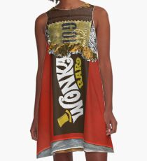 Wonka Chocolate Bar with Golden ticket A-Line Dress