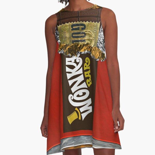 Wonka Chocolate Bar with Golden ticket A-Line Dress