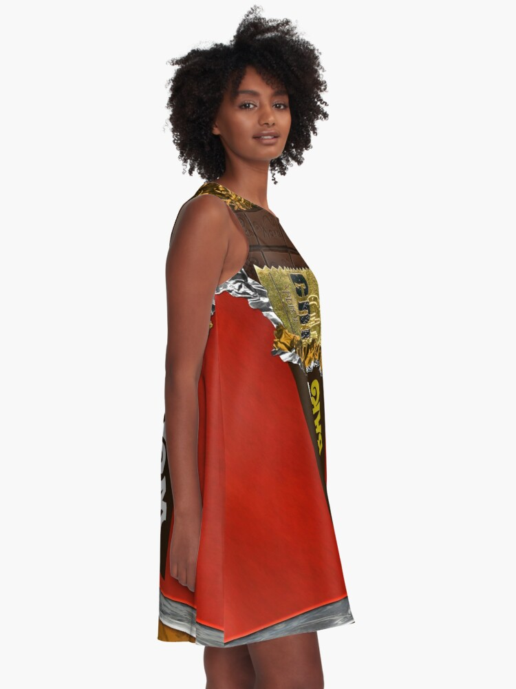 Alternate view of Wonka Chocolate Bar with Golden ticket A-Line Dress