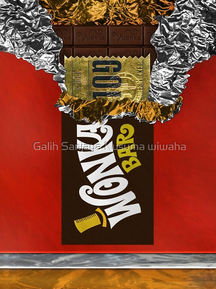 Wonka Chocolate Bar with Golden ticket by GalihArt