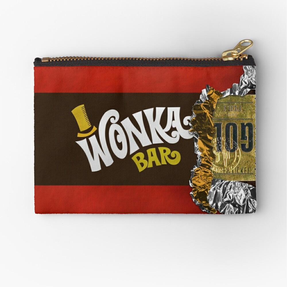 Wonka Chocolate Bar with Golden ticket Zipper Pouch