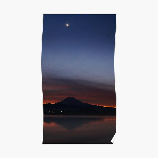 Mountain dancing with crescent moon and Jupiter Poster
