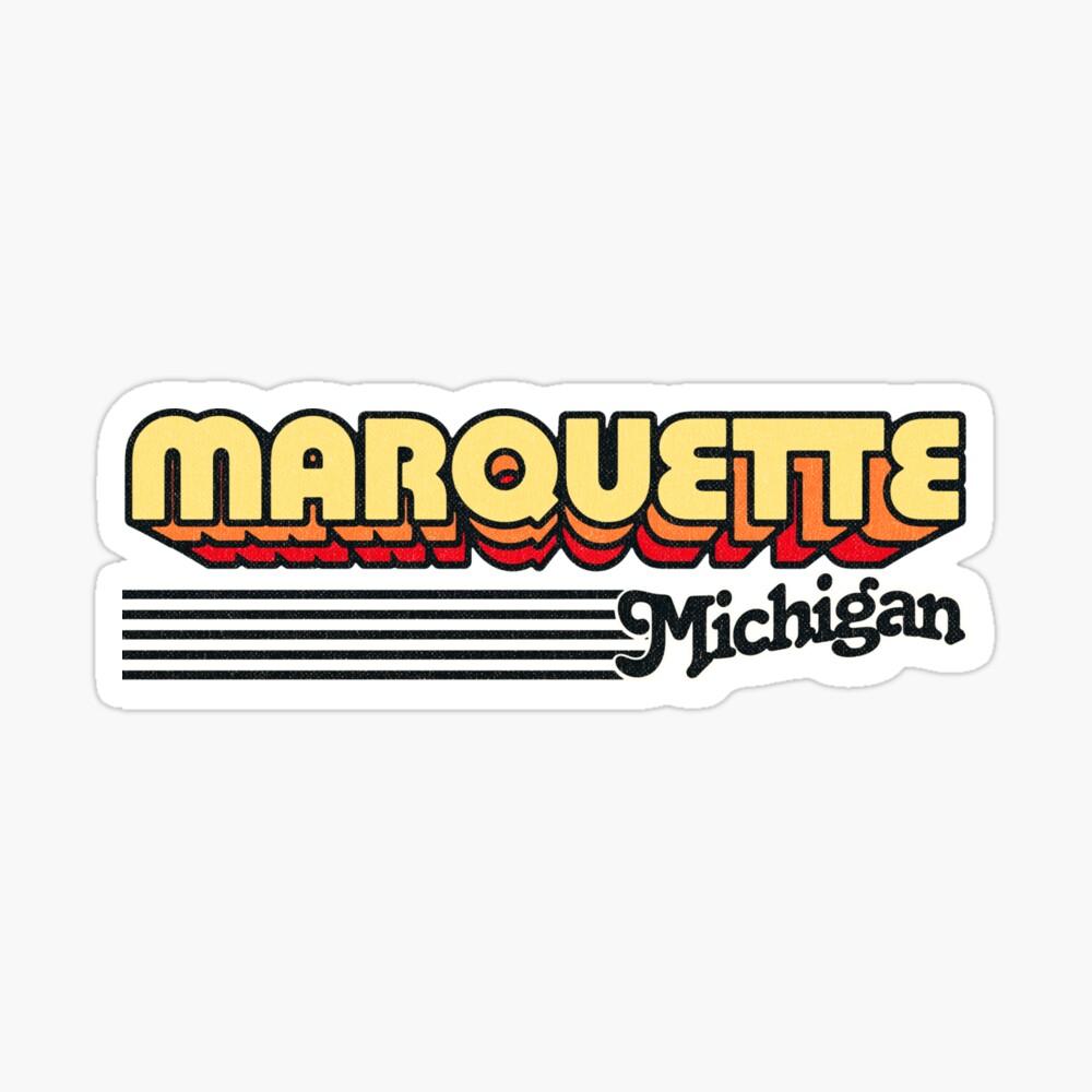 Marquette, Michigan   Retro Stripes Sticker