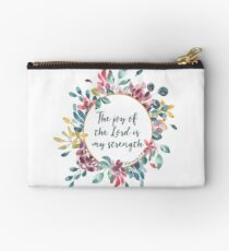 The Joy of the Lord | Bible Verse | Floral Watercolor Studio Pouch