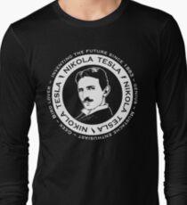 Nikola Tesla - Back of shirt/hoodie option Long Sleeve T-Shirt