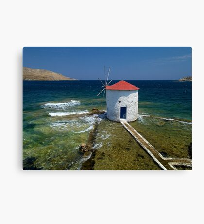 Floating windmill in the sea Canvas Print