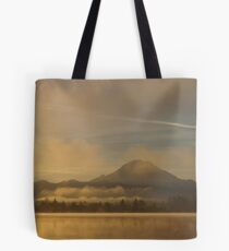 Rainier in the morning sun Tote Bag