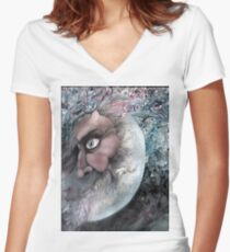 Moon in Man by Davol White Women's Fitted V-Neck T-Shirt