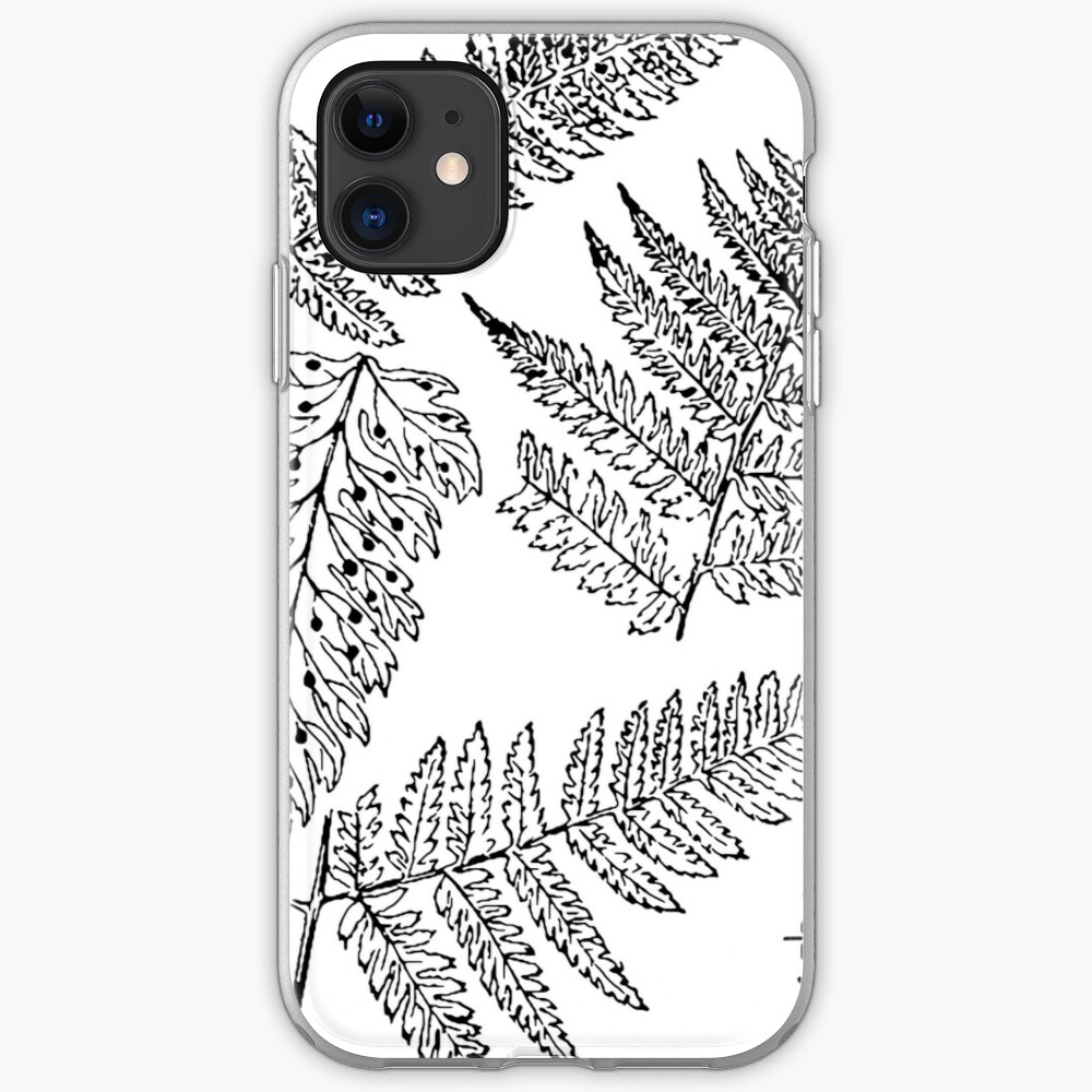 Botanical Scientific Illustration Black and White Fern iPhone Case & Cover