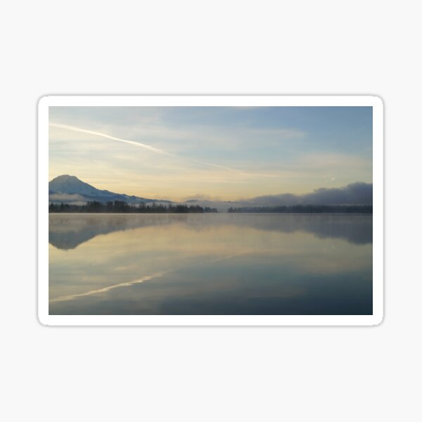 Mountain in morning relection Sticker