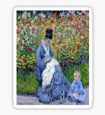 Camille Monet and a Child in the Artist's Garden in Argenteuil-Claude Monet Sticker