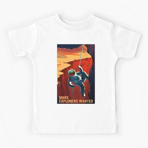 Mars - Explorers Wanted Astronaut Climbing Illustration  Kids T-Shirt