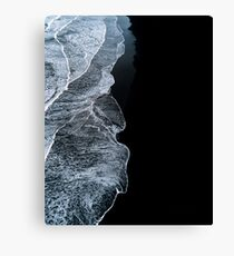 Minimalist waves and black sand beach in Iceland - Landscape Photography Canvas Print