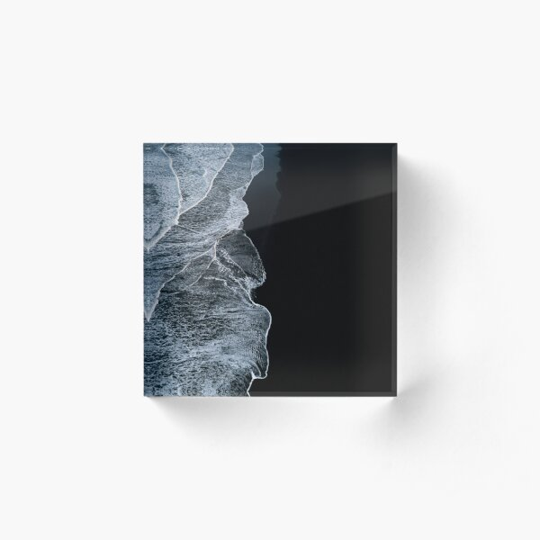 Minimalist waves and black sand beach in Iceland - Landscape Photography Acrylic Block