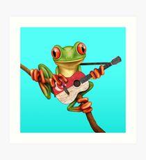 Baum-Frosch, der Singapur-Flaggen-Gitarre spielt Kunstdruck