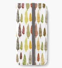 Seamless hand drawn vector pattern with different spruces iPhone Wallet/Case/Skin