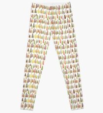 Seamless hand drawn vector pattern with different spruces Leggings
