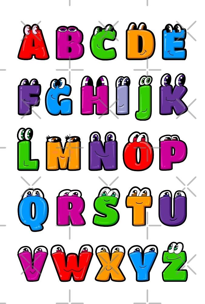 Kawaii Alphabet Letters ABC for children by Elkin Grueso