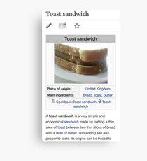 Toast Sandwich Wikipedia Meme Canvas Print