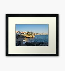 Queens Beach Cascais Magic Hour Gold and Sapphire Framed Print