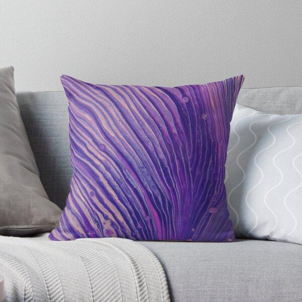 Fluid Nature - Purple Velvet - Acrylic Pour Art Throw Pillow
